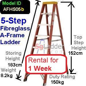 A-Frame 05-Step Fibreglass Ladder Rent 1 Week