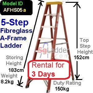 A-Frame 05-Step Fibreglass Ladder Rent 3 Days