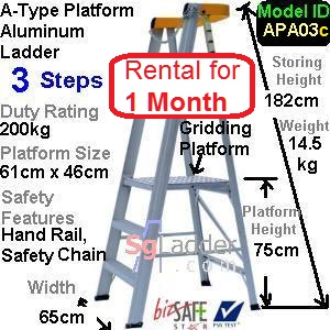 A-Platform Aluminum Ladder 03 Steps Rent 1 Month