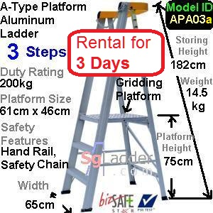 A-Platform Aluminum Ladder 03 Steps Rent 3 Days