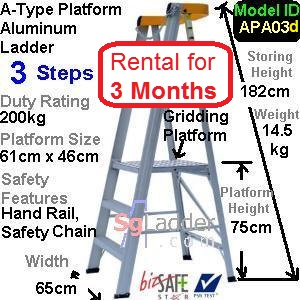 A-Platform Aluminum Ladder 03 Steps Rent 3 Months