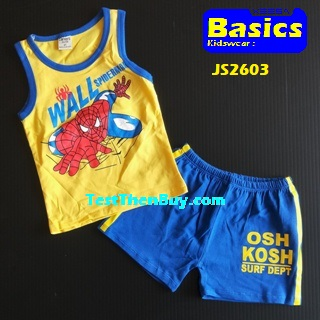 JS2603 Kids sleeveless sets for Boy Age 3