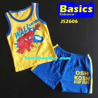 JS2606 Kids sleeveless sets for Boy Age 6