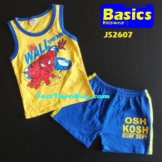 JS2607 Kids sleeveless sets for Boy Age 7