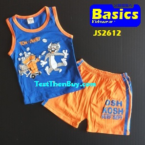 JS2612 Kids sleeveless sets for Boy Age 2