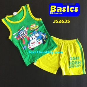 JS2635 Kids sleeveless sets for Boy Age 5