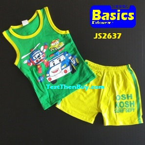 JS2637 Kids sleeveless sets for Boy Age 7