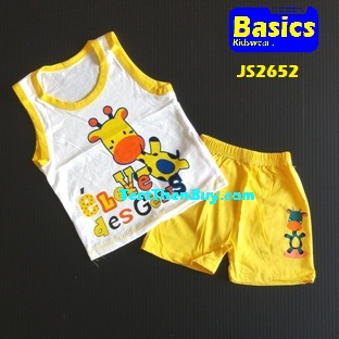 JS2652 Kids sleeveless sets for Age 2