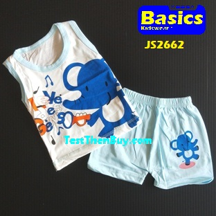 JS2662 Kids sleeveless sets for Age 2