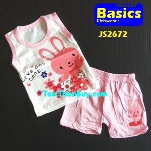JS2672 Kids sleeveless sets for Age 2