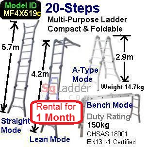 Multi-Fold Aluminum Ladder 20-Steps Rent 1 Month