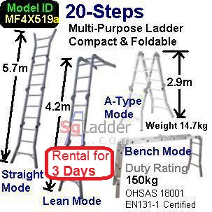 Multi-Fold Aluminum Ladder 20-Steps Rent 3 Days