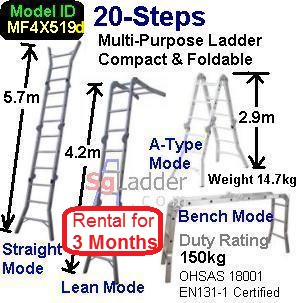 Multi-Fold Aluminum Ladder 20-Steps Rent 3 Months