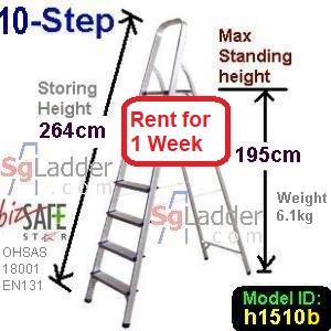 10-Step Aluminium Safety Ladder Rent 1 Week