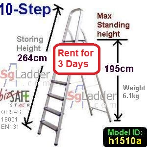 10-Step Aluminium Safety Ladder Rent 3 Days