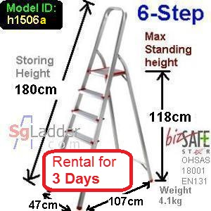 6-Step Aluminium Safety Ladder Rent 3 Days