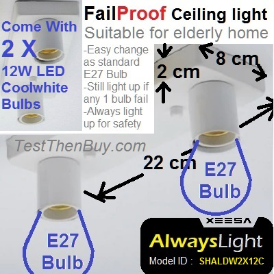 AlwaysLight Fail-Proof Ceiling Light Duo 2x12W LED