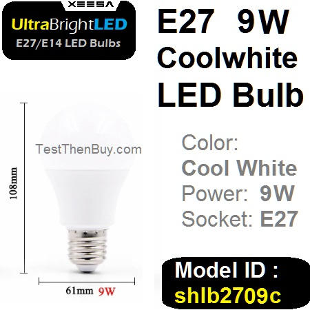 UltraBright E27 LED Bulb 9W Cool white