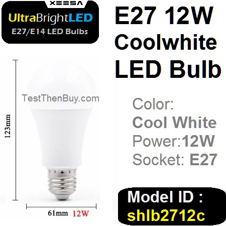 UltraBright E27 LED Bulb 12W Cool white