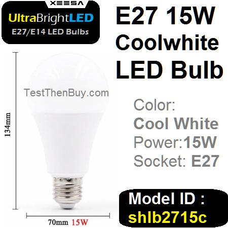 UltraBright E27 LED Bulb 15W Cool white
