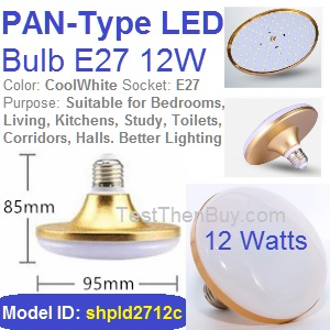 Pan-Type LED Bulb E27 12W