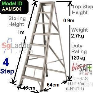 A-Frame 04-Step Aluminum Ladder (Medium Duty)