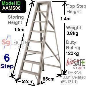 A-Frame 06-Step Aluminum Ladder (Medium Duty)