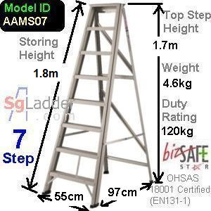 A-Frame 07-Step Aluminum Ladder (Medium Duty)
