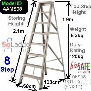 A-Frame 08-Step Aluminum Ladder (Medium Duty)