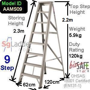 A-Frame 09-Step Aluminum Ladder (Medium Duty)