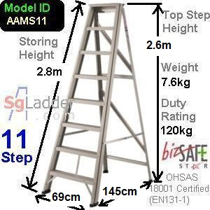 A-Frame 11-Step Aluminum Ladder (Medium Duty)