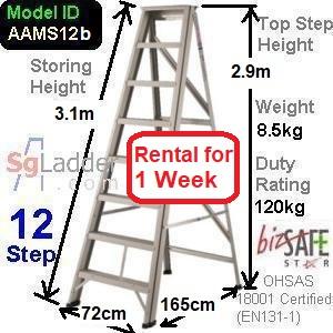 A-Frame 12-Step Ladder (Mid Duty) rent 1 week