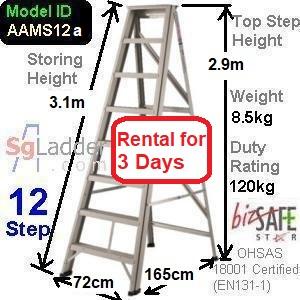 A-Frame 12-Step Ladder (Mid Duty) rent 3 Days