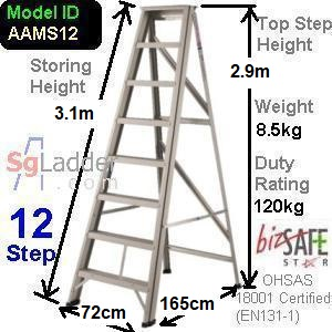 A-Frame 12-Step Aluminum Ladder (Medium Duty)