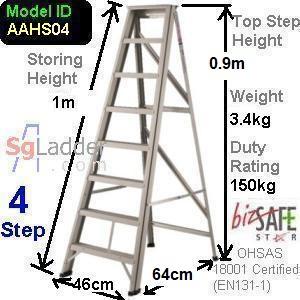 A-Frame 04-Step Aluminum Ladder (Heavy Duty)