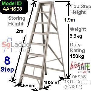 A-Frame 08-Step Aluminum Ladder (Heavy Duty)