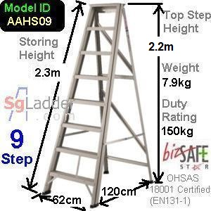 A-Frame 09-Step Aluminum Ladder (Heavy Duty)