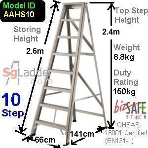 A-Frame 10-Step Aluminum Ladder (Heavy Duty)