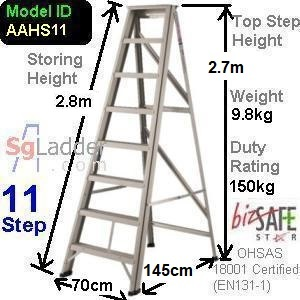 A-Frame 11-Step Aluminum Ladder (Heavy Duty)