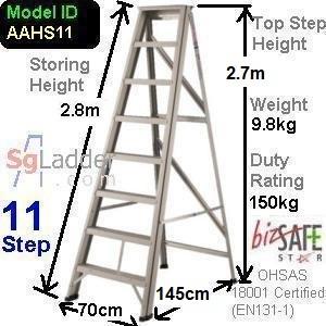 A-Frame 11-Step Aluminum Ladder (Heavy Duty)