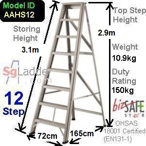 A-Frame 12-Step Aluminum Ladder (Heavy Duty)