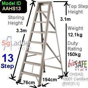 A-Frame 13-Step Aluminum Ladder (Heavy Duty)