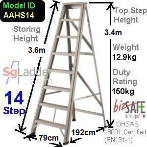 A-Frame 14-Step Aluminum Ladder (Heavy Duty)