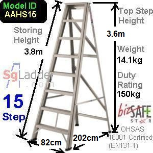 A-Frame 15-Step Aluminum Ladder (Heavy Duty)