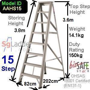 A-Frame 15-Step Aluminum Ladder (Heavy Duty)