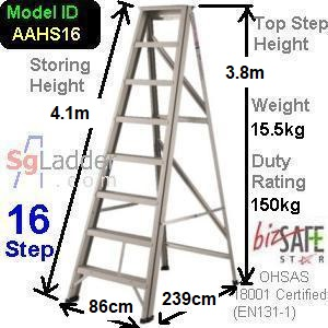 A-Frame 16-Step Aluminum Ladder (Heavy Duty)