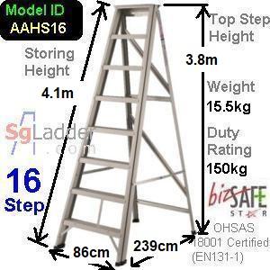 A-Frame 16-Step Aluminum Ladder (Heavy Duty)