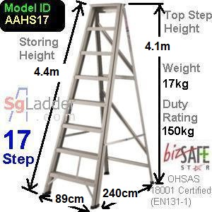 A-Frame 17-Step Aluminum Ladder (Heavy Duty)