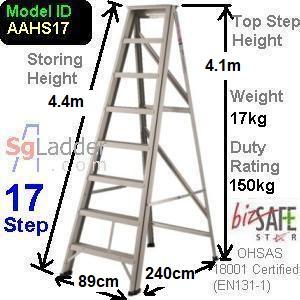 A-Frame 17-Step Aluminum Ladder (Heavy Duty)