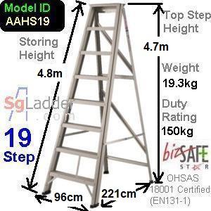 A-Frame 19-Step Aluminum Ladder (Heavy Duty)